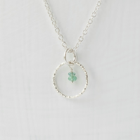 Emerald with Minimalist Slim Silver Circle Pendant Necklace