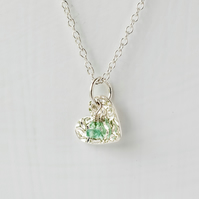 Emerald with Fine Silver Heart Pendant Necklace