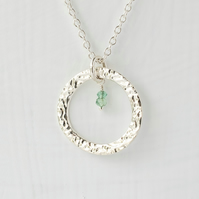 Emerald with Large Fine Silver Circle Pendant Necklace