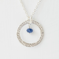 Blue Sapphire with Fine Silver Large Circle Pendant Necklace