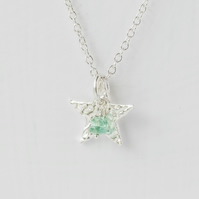 Emerald with Fine Silver Star Pendant Necklace