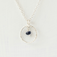 Blue Sapphire with Sterling Silver Silm Circle Pendant Necklace