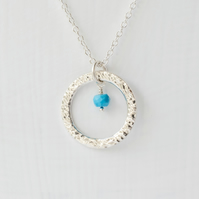 Turquoise and Large Textured Fine Silver Circle pendant