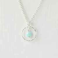 Peruvian Opal and Sparkling Sterling Silver Slim Circle Pendant