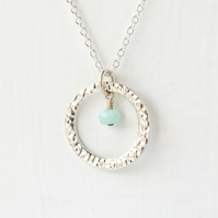 Peruvian Opal with Large Textured Fine Silver Circle Pendant