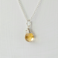 Citrine Briolette and Sterling Silver Pendant