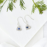 Blue Sapphire and Fine Silver Heart Earrings