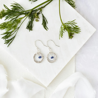 Blue Sapphire and Fine Silver Circle Earrings