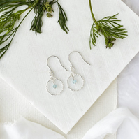 Aquamarine and Delicate Sterling Silver Circle Earrings