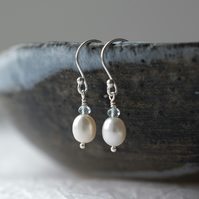 Top Quality Ivory White Freshwater Pearls and Aquamarine Dainty Drop Earrings