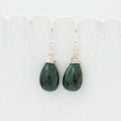 Top Quality Green Malachite Briolette and Sterling Silver Earrings