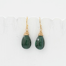 Dark Green Malachite Briolette and Gold Fill Earrings