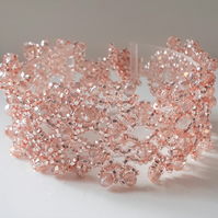 Peach Beaded Lace Bracelet Crystal Bracelet