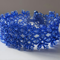 Blue Beaded Lace Crystal Bracelet