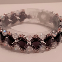 Purple, Pink and Crystal  Bracelet