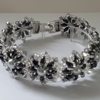 Black and Silver  daisy bracelet