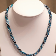 Blue, silver and black spiral rope necklace