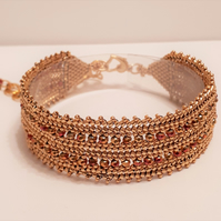 Gold and Pink Crystal Herringbone Beaded Bracelet