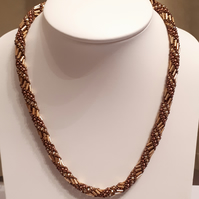 Bronze, gold and brown spiral rope necklace