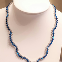 Blue and silver beaded scalloped crystal necklace