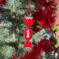 Fused Glass Christmas Cracker Hanging Decoration