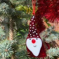 Fused Glass Santa Scandinavian Gnome Christmas Hanging Decoration