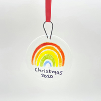 Fused Glass Rainbow Christmas Hanging Bauble Decoration