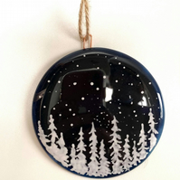 Fused Glass Starry Night Hanging Bauble Decoration