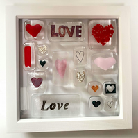 Fused Glass Love Heart Pebble Picture Frame, Valentines Heart, Anniversary,