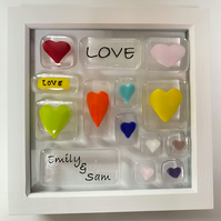 Fused Glass Rainbow Heart Picture Frame, Valentines Heart, Anniversary,