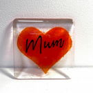 Fused Glass Mum Heart Coasters, Mothers Day