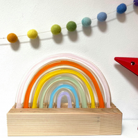 Fused Glass Pastel Rainbow with wooden block