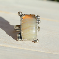 Yellow Botswana Agate Ring, Silver Rustic Jewellery