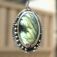 Large Labradorite Rustic Necklace, Sterling Silver and Copper Leaf Pendant