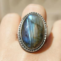 Large Labradorite Ring in Sterling Silver and Copper, Ring Size Q or 8