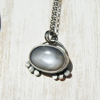 Grey Moonstone Necklace, Silver and Copper Pendant