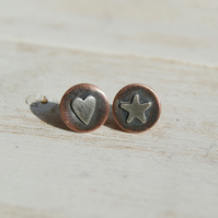 Copper and Silver Stud Earrings, Oxidised Heart and Star Studs