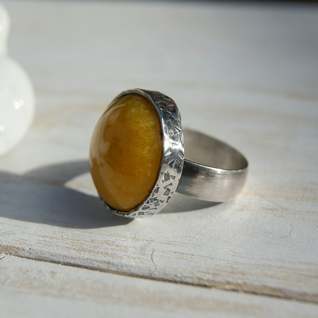 Yellow Calcite Ring, Sterling Silver Chunky Ring, Rustic Jewellery