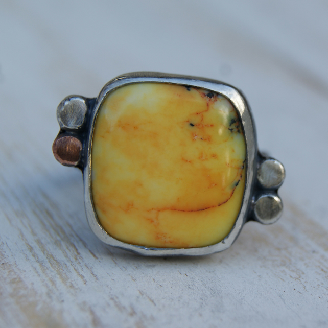 Yellow Opal Ring, Dendritic Opal Ring,