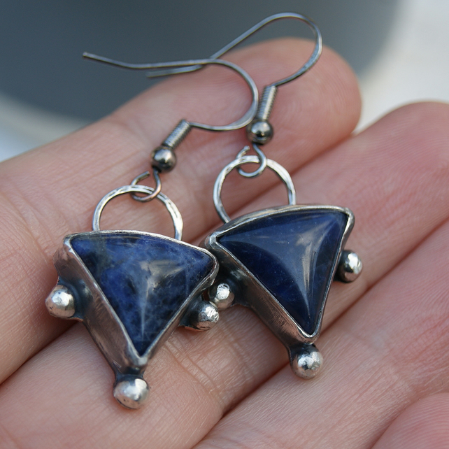 Sodalite Dangle Earrings, Triangular Blue Earrings