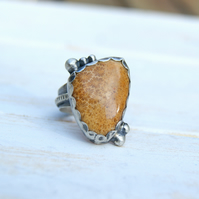 Fossil Coral Rustic Ring, Large Stone Ring, Boho Jewellery