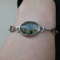 Prehnite Links Bracelet, Rustic Mixed Metal Bracelet