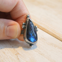 Labradorite Ring, Silver and Copper Boho Ring, Hammered Silver Ring
