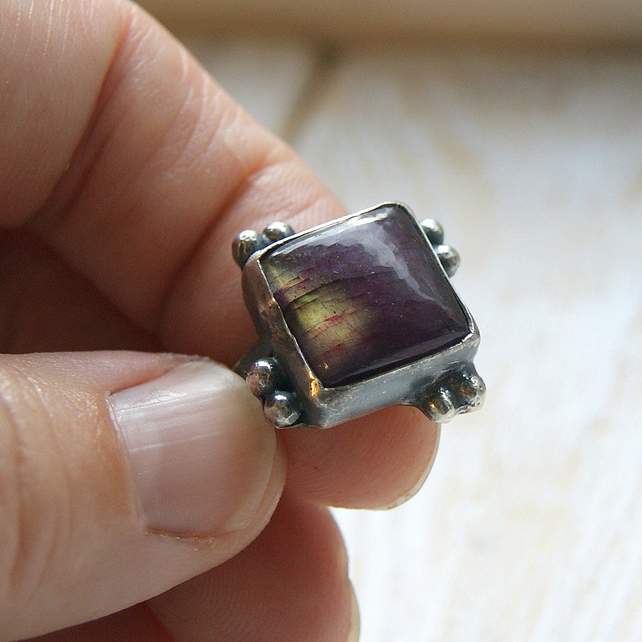 Labradorite Square Ring,Rustic Jewellery, Pinky Ring