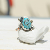 Turquoise Ring, Rustic Jewellery