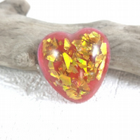 Resin Heart Brooch Gold Holographic Chip Lapel Pin Pink Mica Powder