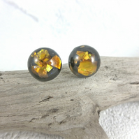 Round Resin Stud Earrings Gold Holographic Chip Studs Black Small Earrings