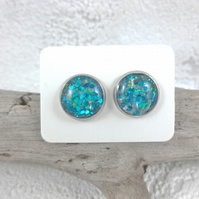 Silver Round Resin Stud Earrings with Blue Green Confetti Glitter Dainty Jewelry