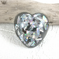 Resin Heart Brooch Silver Holographic Black Mica Heart Pin Woman Lapel Badge