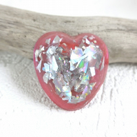 Resin Pink Mica Heart with Silver Holographic Chips Brooch Sentimental Gift
